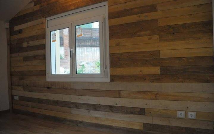 handmade wooden pallet interior wall paneling