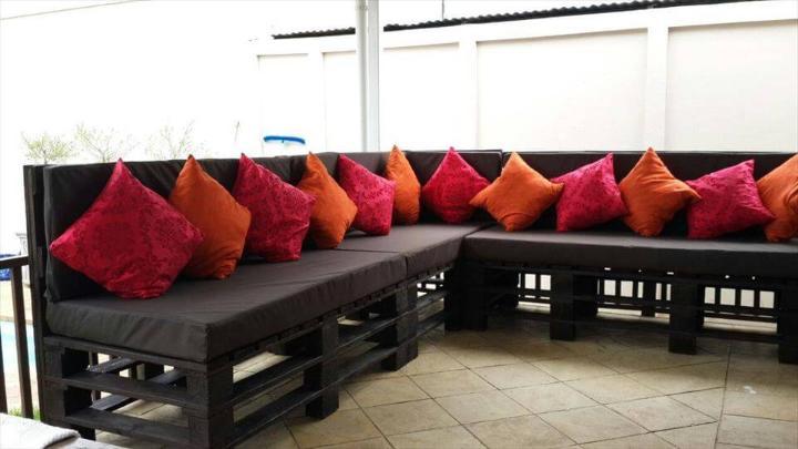 custom pallet L-shape sofa