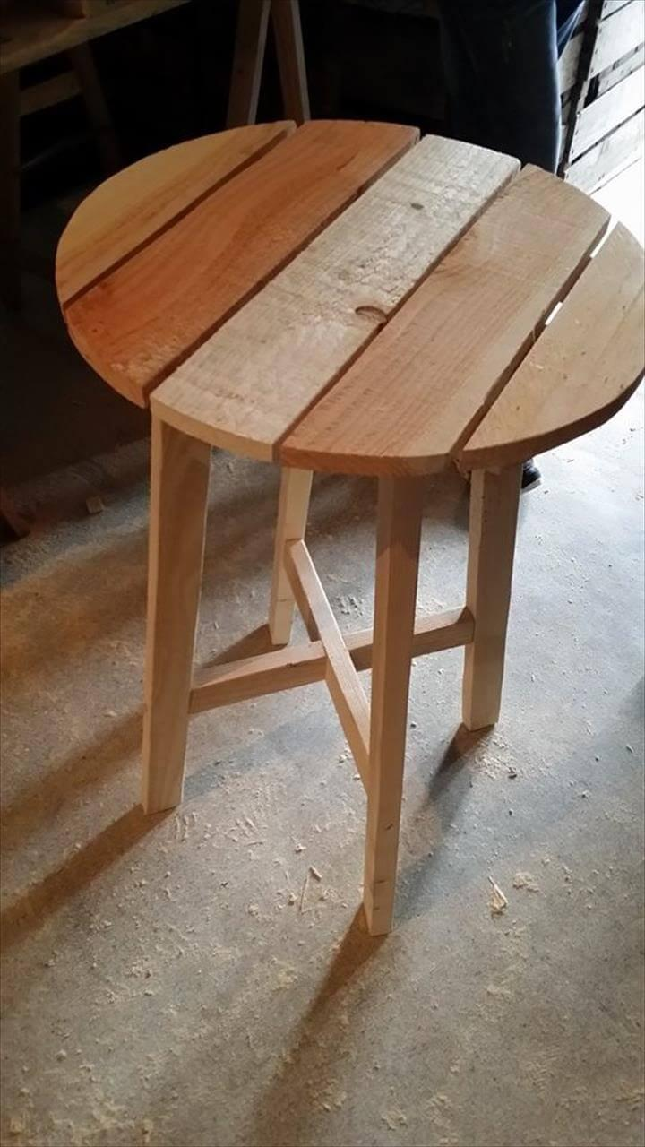 round high top wooden pallet table