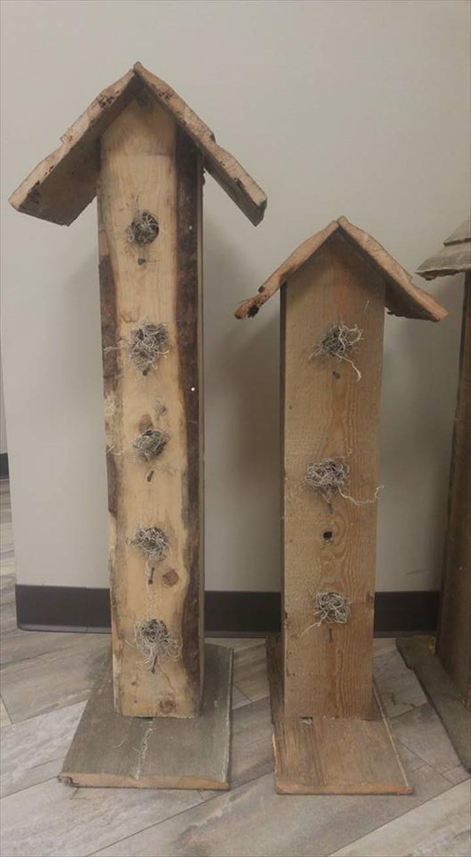 low-cost wooden pallet garden birdhouses