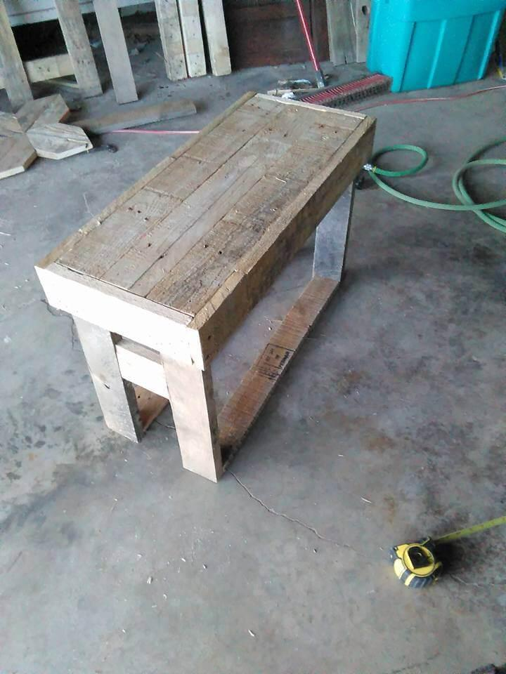 handcrafted wooden pallet bench