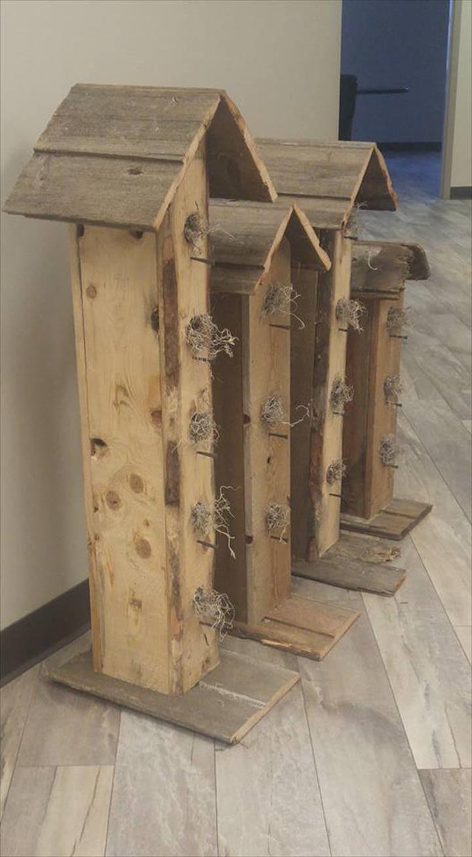 handcrafted wooden pallet birdhouses