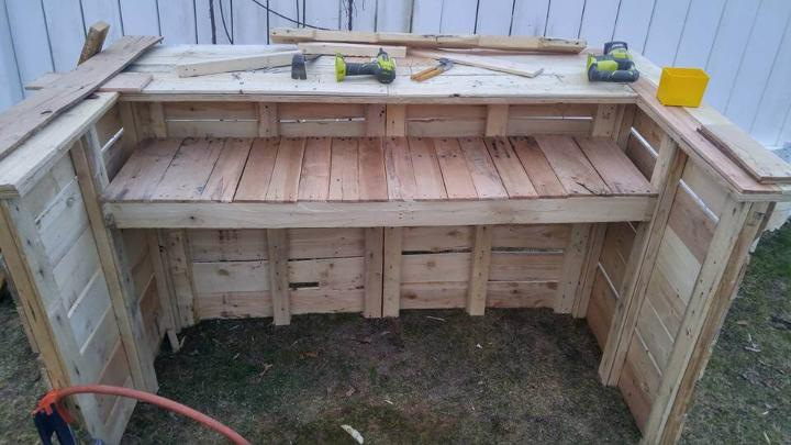wooden pallet bar table with built in shelf