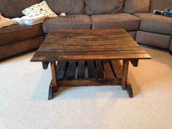diy square top wooden pallet coffee table