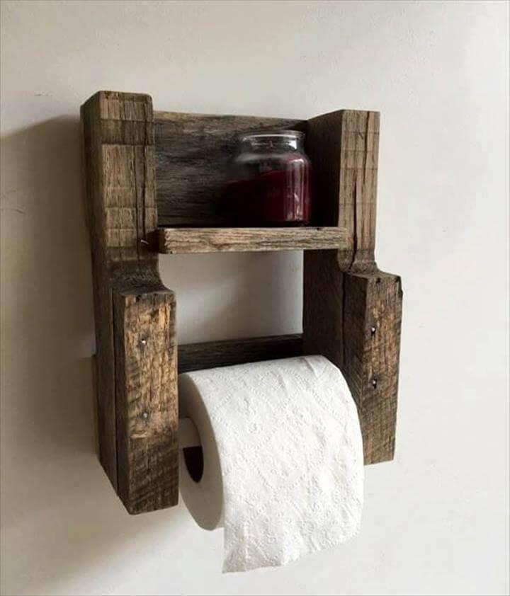 pallet wood toilet paper roll holder