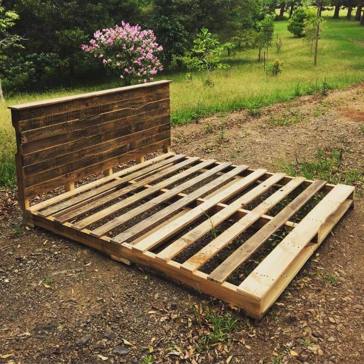 sturdy wooden pallet platform bed