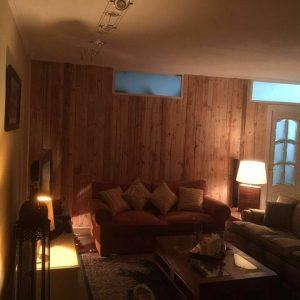 low-cost wooden pallet living room accent wall