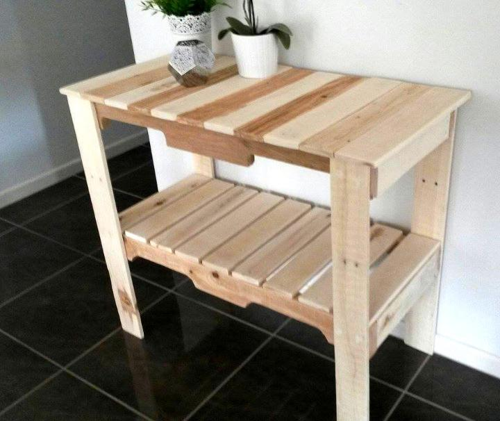 custom wooden pallet dual toned entry or hallway console