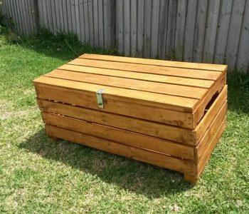 handcrafted wooden pallet stained chest
