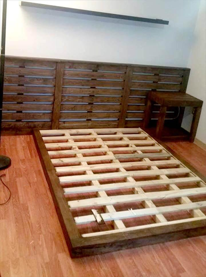 handmade pallet platform bed with custom headboard