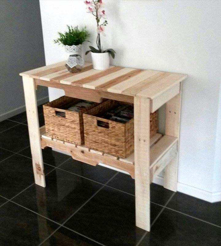 Pallet Foyer Table : Pallet hall table entryway console easy ideas