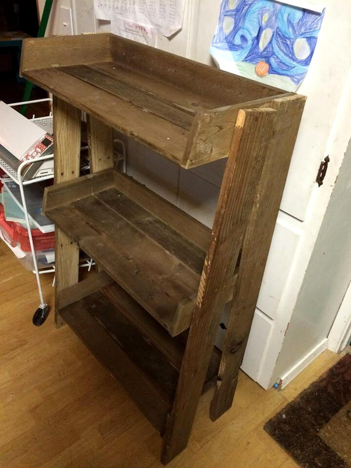 handcrafted wooden pallet bathroom shelf