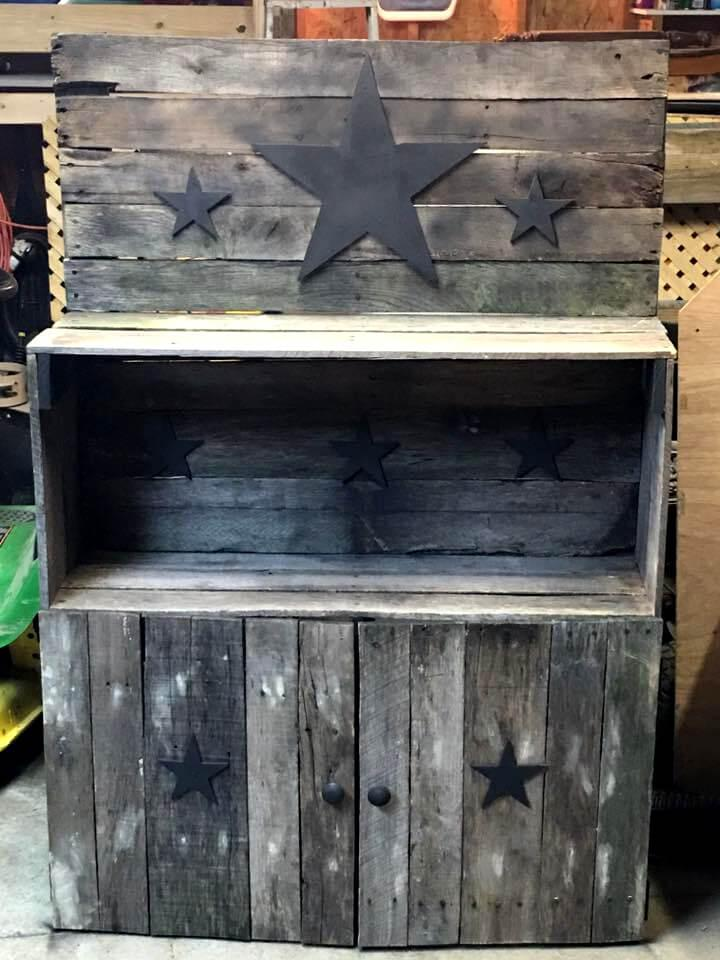 pallet rustic storage and display unit with star tags