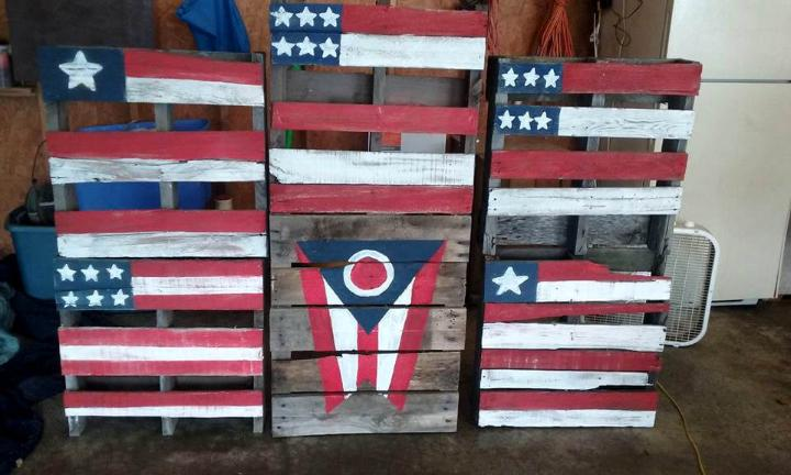 custom flags made of pallets