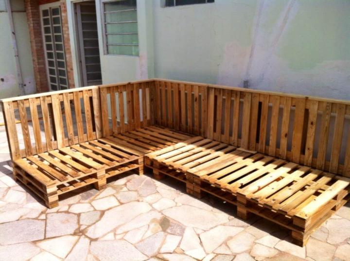 Pallet Patio Sectional Sofa Set Easy Pallet Ideas