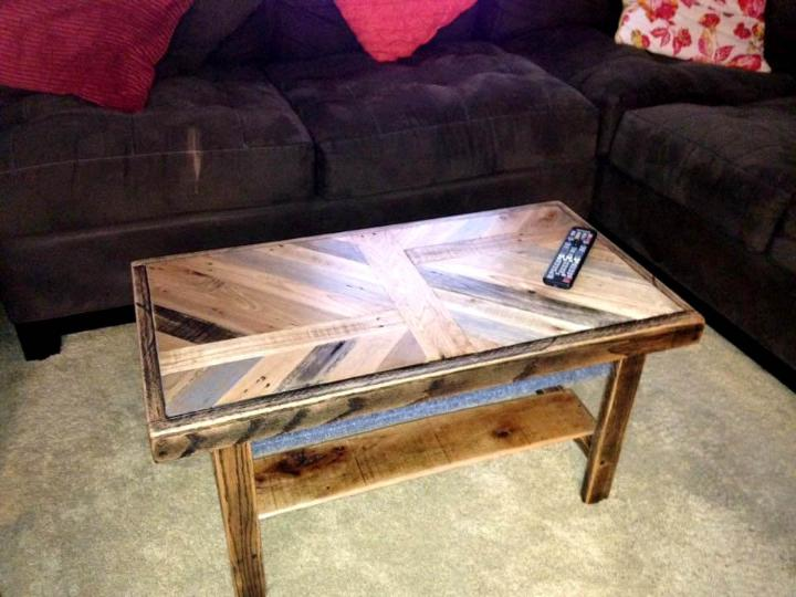 sleek pallet coffee table with patterned top