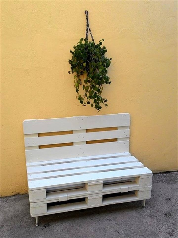 custom chic white pallet patio or outdoor seat