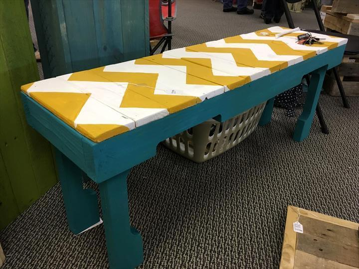 coloful multichevron pallet bench