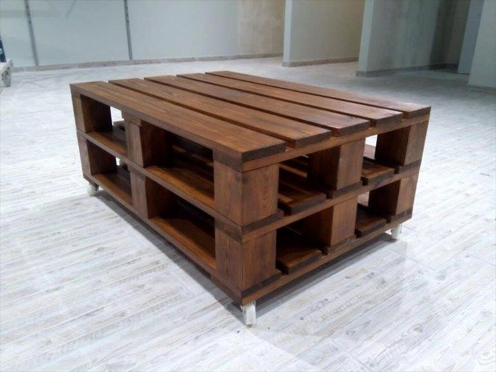 no-cost 2 pallet bunk coffee table with wheels