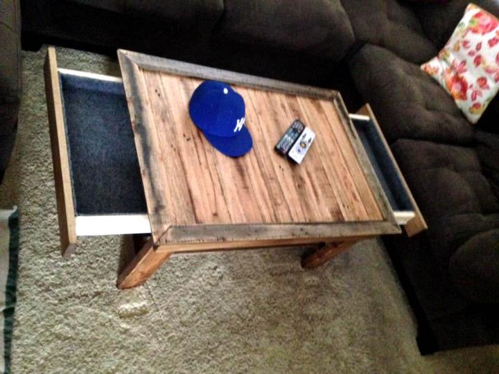 handmade wooden pallet coffee table with custom sliding out drawer and tray
