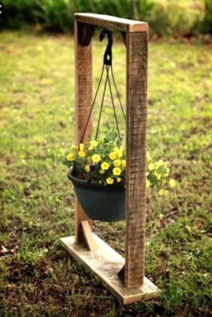handmade wooden pallet hanging planter stand