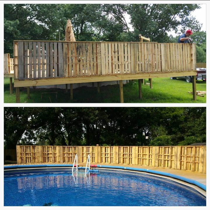 custom wooden pallet pool fencing