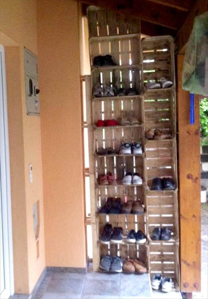 wooden pallet shoes rack towers