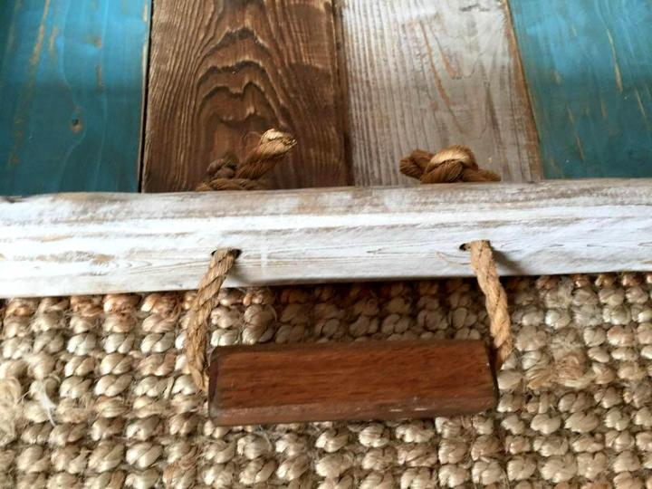 rustic wooden pallet shabby chic tray with rope handles