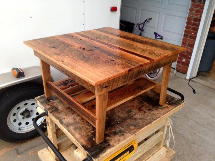 walnut stained mini pallet table