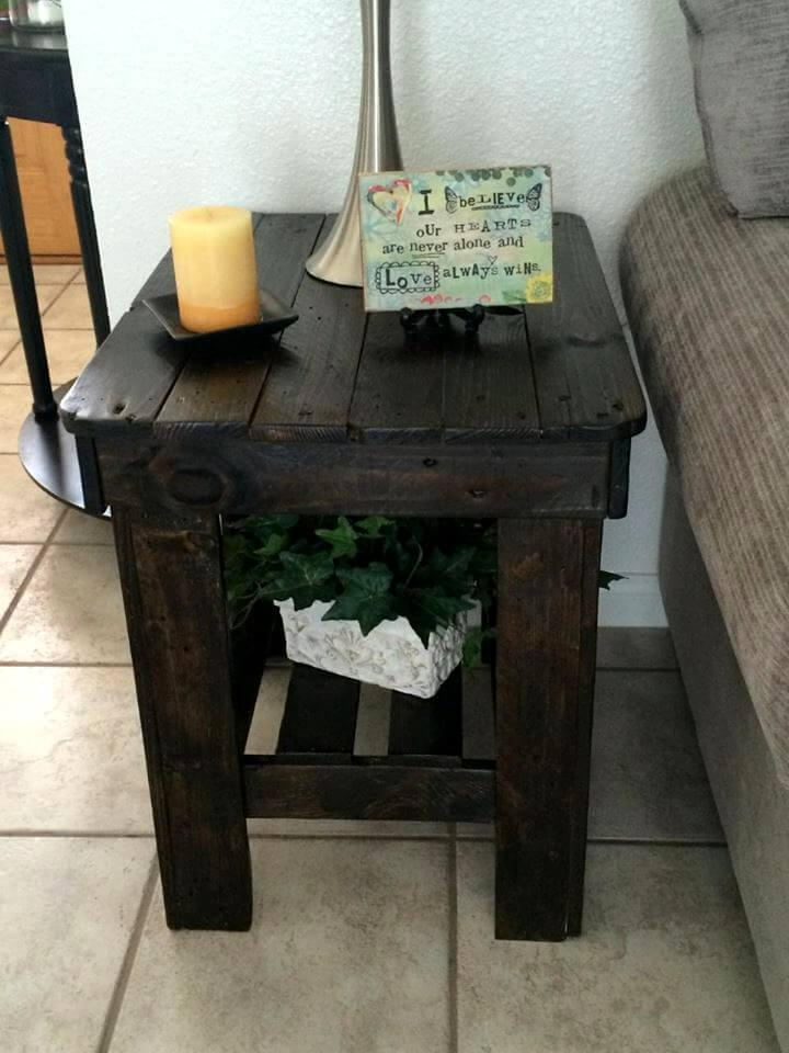 dark stained pallet side table