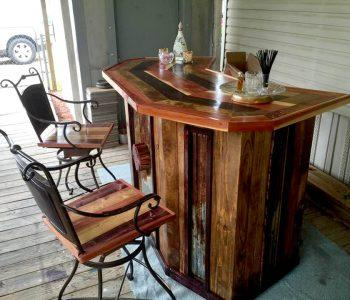 wooden pallet bar and two revampled old metal frame chair set