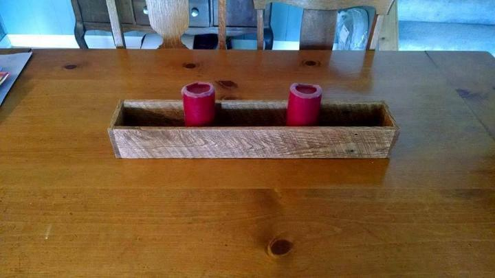 pallet made candle holder