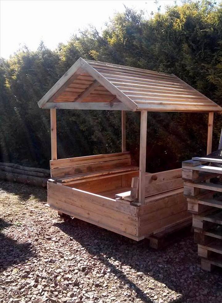 sturdy wooden pallet sandbox