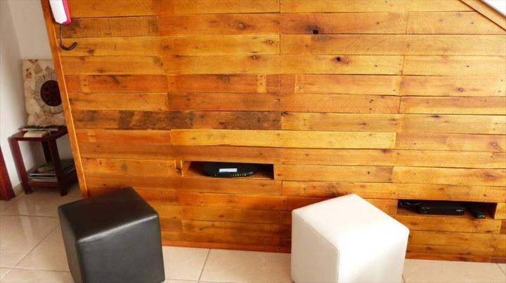 rustic pallet under stair TV panel