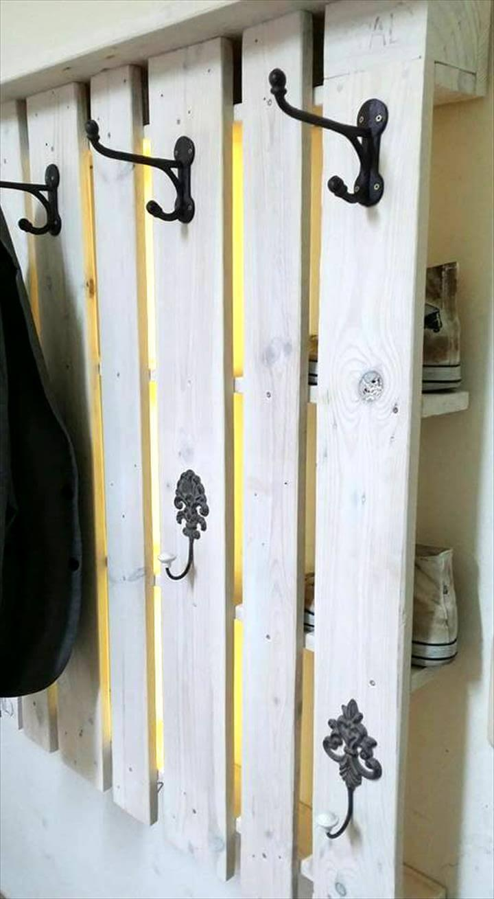 one pallet hallway wall hooks with lights