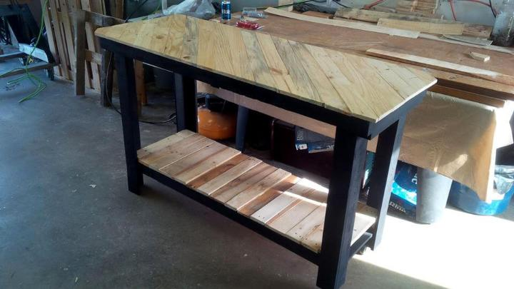 Pallet Kitchen Island With Pattern Top Easy Pallet Ideas