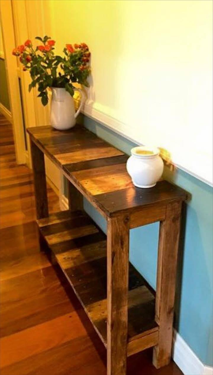 no-cost super stable wooden pallet console