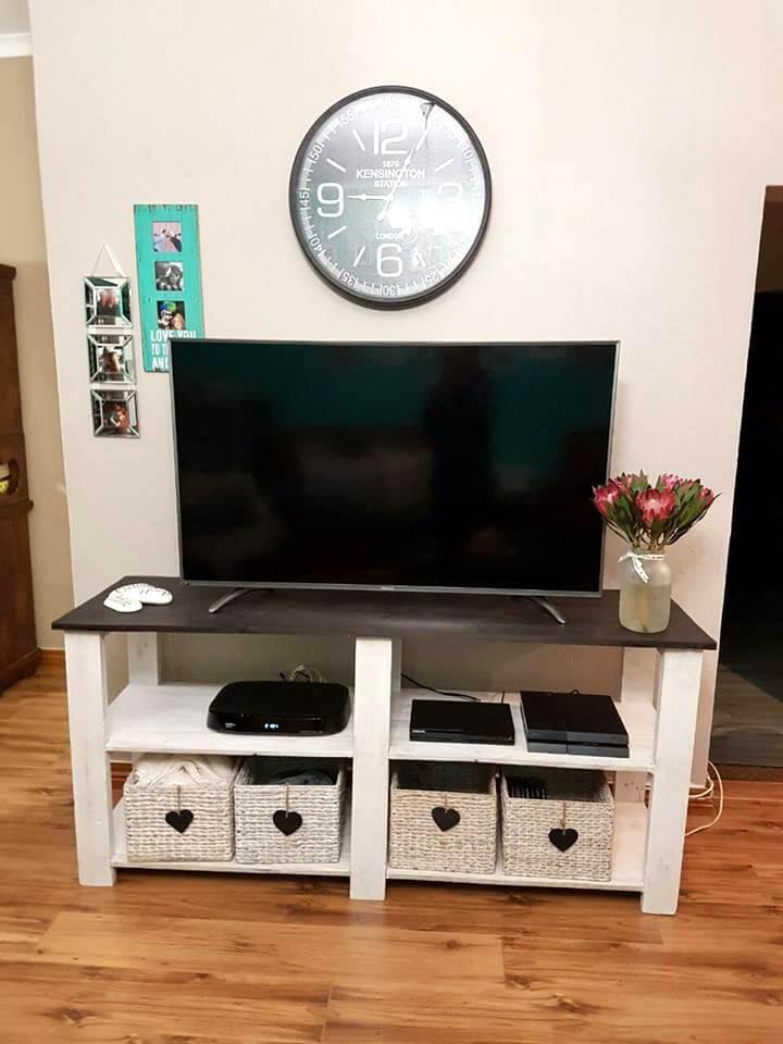 handcrafted wooden pallet TV console
