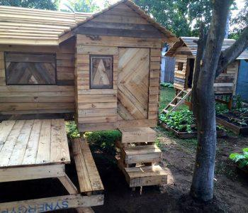 upcycled pallet bungalow style kids playhouse