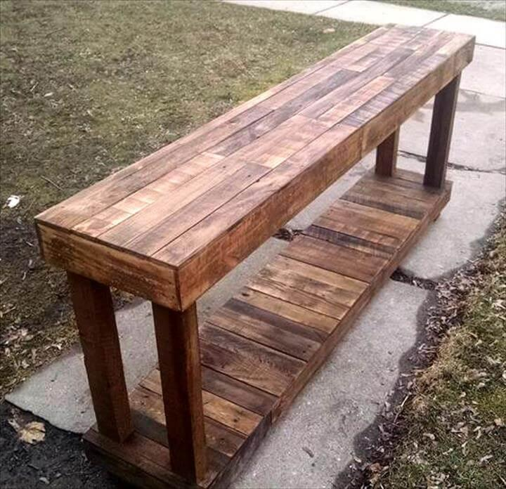 recycled pallet extra long wooden bench