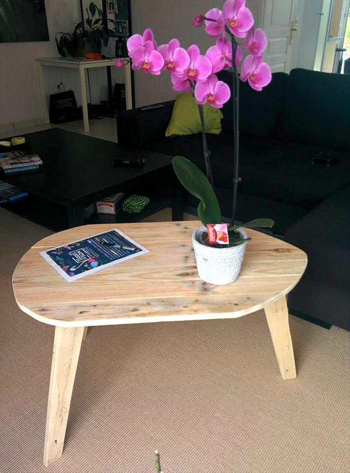 Oval Top Pallet Coffee Table With 3 Legs Easy Pallet Ideas