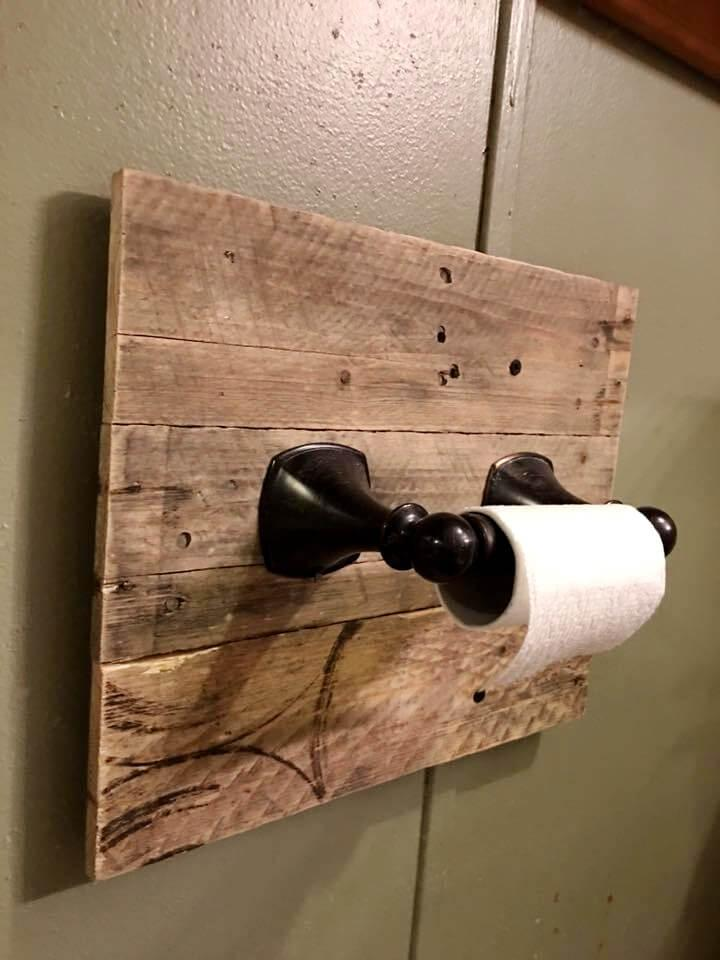 handmade pallet rustic toilet paper roll holder