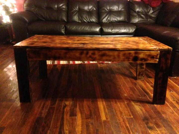 upcycled wooden pallet scorched coffee table