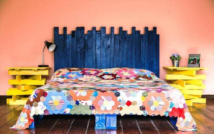 rustic wooden pallet headboard and nightstands