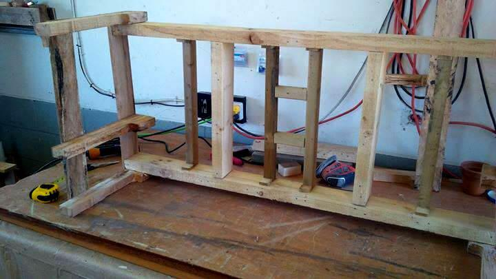 building a window bench with pallets