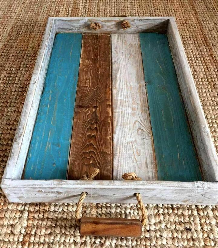 Pallet Serving Tray With Rope Handles Easy Pallet Ideas