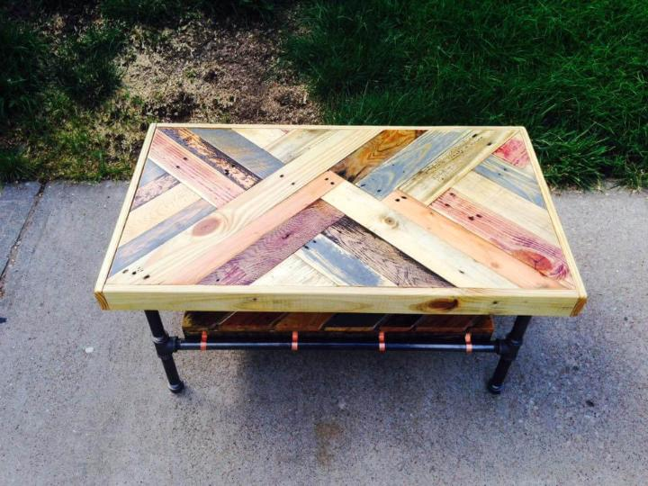 handmade pallet and metal pipe coffee table