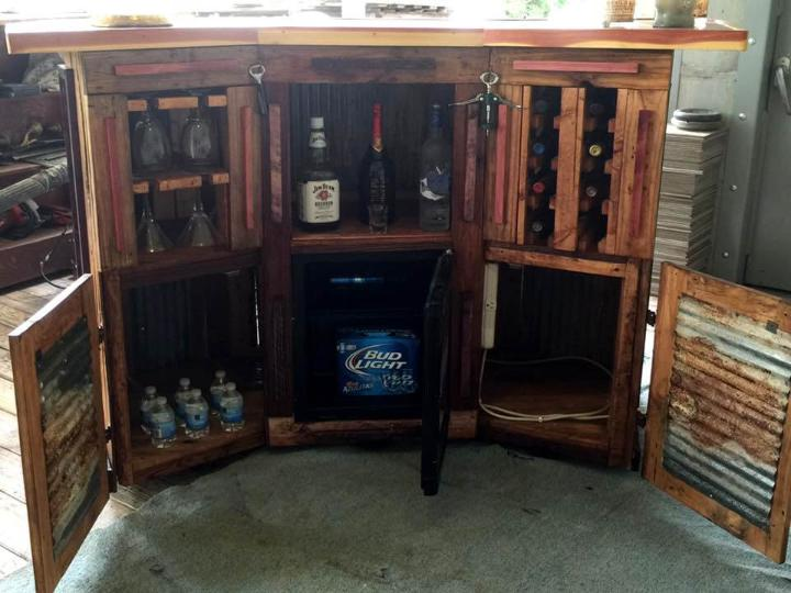 upcycled wooden pallet bar with custom inside storage options