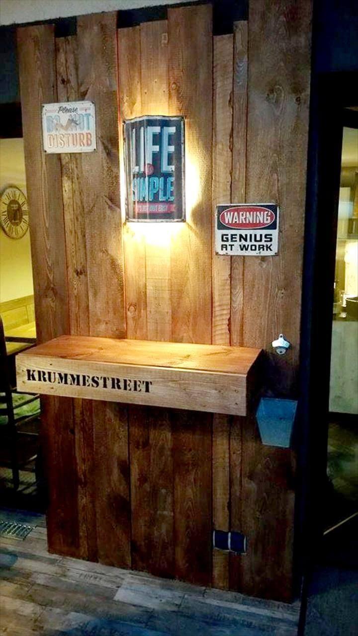 Wooden pallet beverage shelf