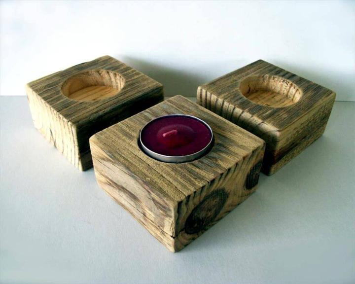 Wooden pallet candle holders